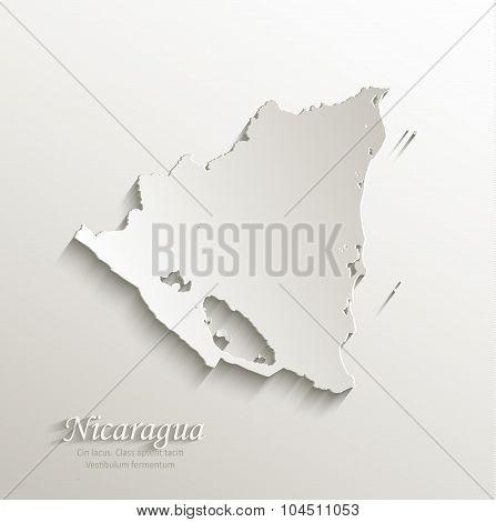 Nicaragua map card paper 3D natural vector