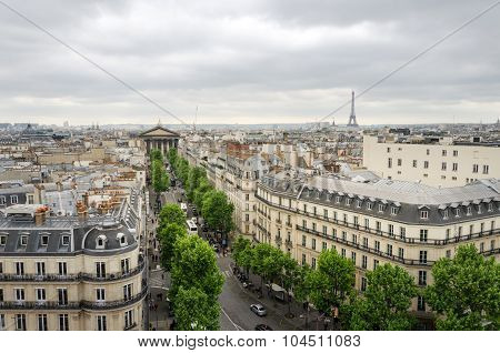 Madeleine Church, Eiffel Tower With Paris Skyline