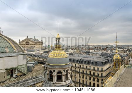 Opera House(palais Garnier) With Roofs Of Paris