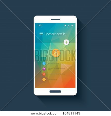 Contact screen mobile ui template in modern material design. Colorful low poly background.