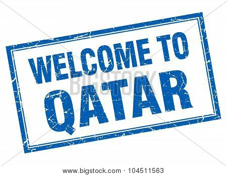 Qatar Blue Square Grunge Welcome Isolated Stamp