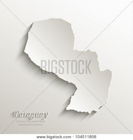 Paraguay map card paper 3D natural vector
