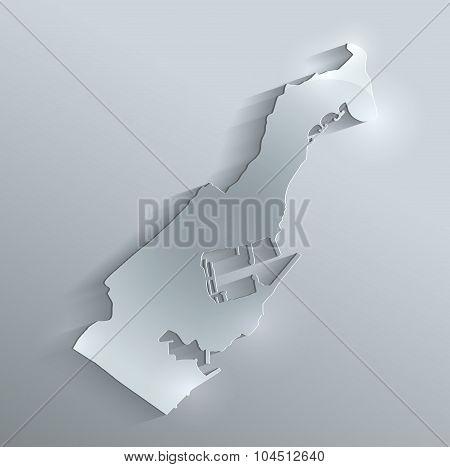 Monaco map glass card paper 3D raster