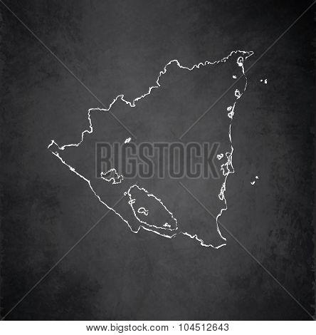 Nicaragua map blackboard chalkboard raster