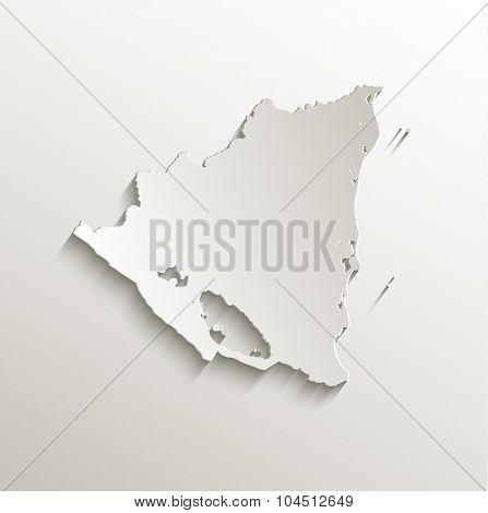 Nicaragua map card paper 3D natural raster