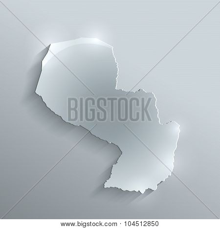 Paraguay map glass card paper 3D raster