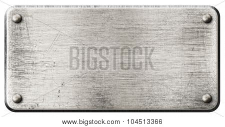 grunge steel metal plate with rivets isolated