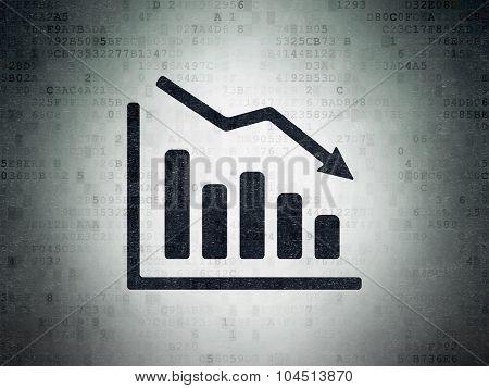 News concept: Decline Graph on Digital Paper background