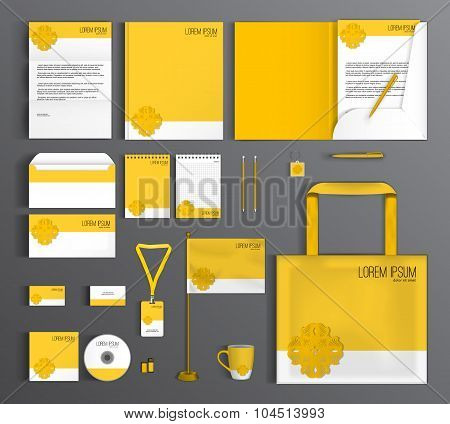 Corporate Identity set with a yellow flower.