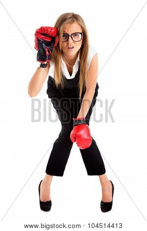 Defeated Loser Woman - Business Concept With Businesswoman Wearing Boxing Gloves Standing In Full Bo