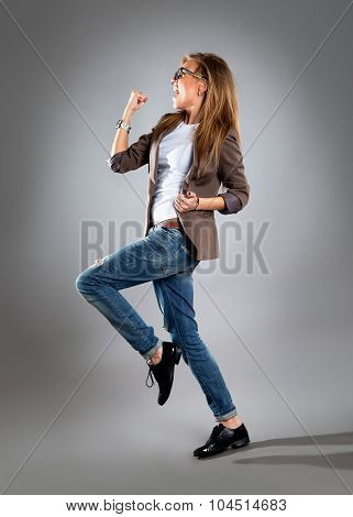 Celebrating Cheering Businesswoman Isolated. Funny Image Of Happy Young Business Woman In Full Lengt