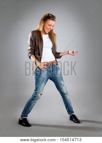 Woman Listening To Music On Mp3 Player, Dancing Playing Air Guitar. Funny Happy Portrait Of Business