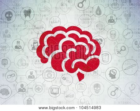 Health concept: Brain on Digital Paper background