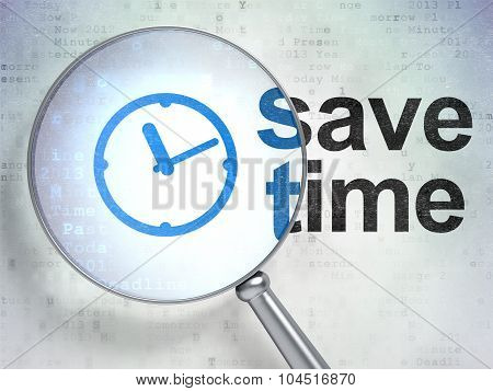 Time concept: Clock and Save Time with optical glass