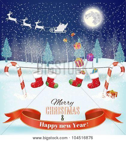 Silhouett Santa Claus sleigh with reindeer fly