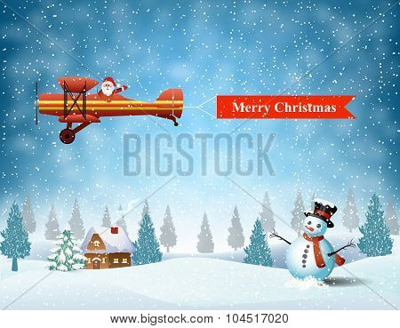 light plane with Santa claus