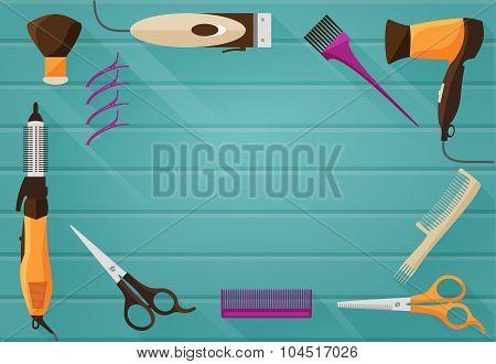 Hairdressing salon Barbershop Tools flat background