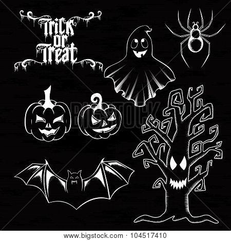 Vector set of Happy Halloween ornate elements.  Traditional and