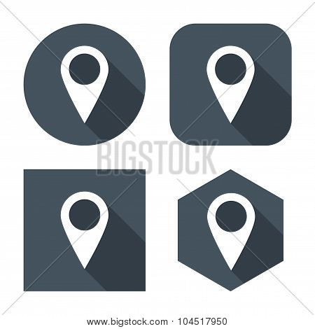 Set Pointers Icons For Map In The Style Flat Design Gray Color On A White Background. Stock Vector