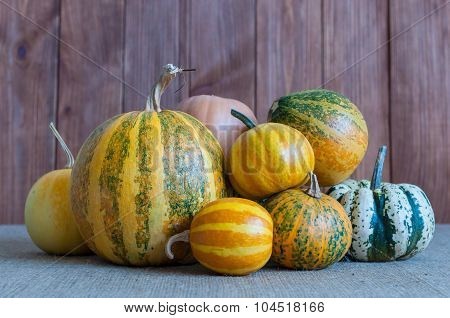 Autumn pumpkins with leaves  on dark wooden board