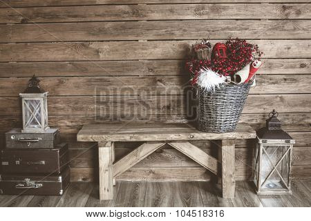 Winter home decor. Christmas rustic interior. Farmhouse decoration style.