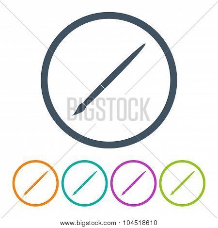 Set Brush Icons Different Color On A White Background. Stock Vector Illustration Eps10