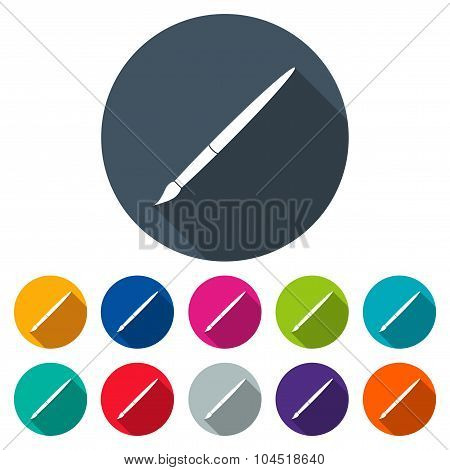 Set Brush Icons In The Style Flat Design On A White Background. Stock Vector Illustration Eps10