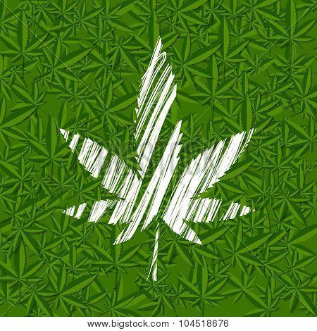 White grunge cannabis leaf on green pattern. Vector background
