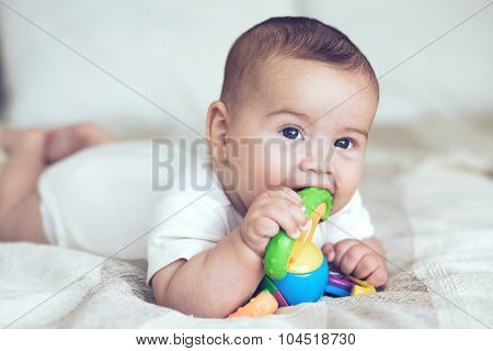 Portrait of a lovable 5 months baby lying down on a blanket and playing with toy