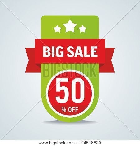 Big sale of 50 percent of the label with a red ribbon. Vector illustration.