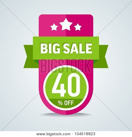 Big sale of 40 percent of the label with a green ribbon. Vector illustration.
