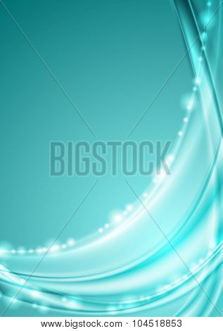 Shiny turquoise abstract waves background. Vector design