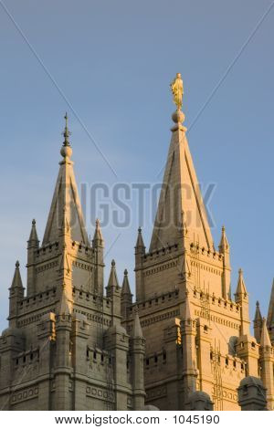 Salt Lake Temple Main Spire At Dusk