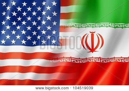 Usa And Iran Flag