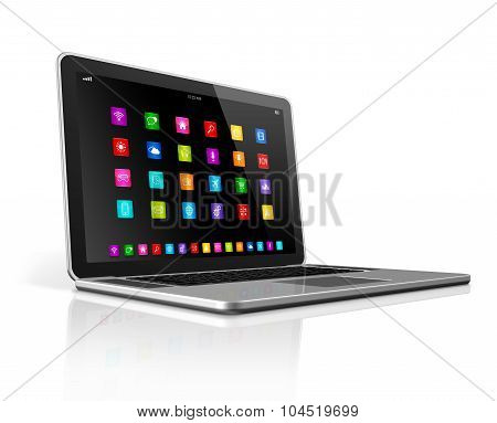 High Tech Laptop Computer With Apps Icons Interface