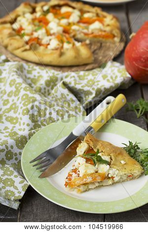 Galette  With Pumpkin, Leek And Feta Cheese.