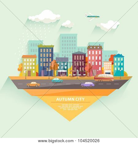 Autumn cityscape.  Flat design.