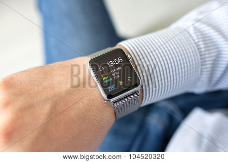 Man Hand With Apple Watch In The Home