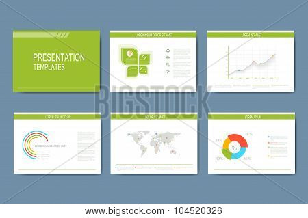 Set of infographic vector templates for presentation slides. Modern business design  with graphs and