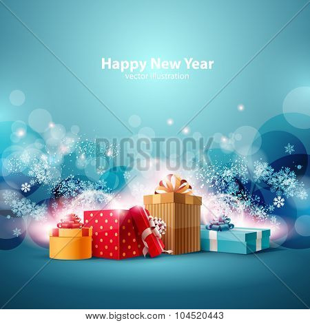 Christmas gifts boxes on  blue background.