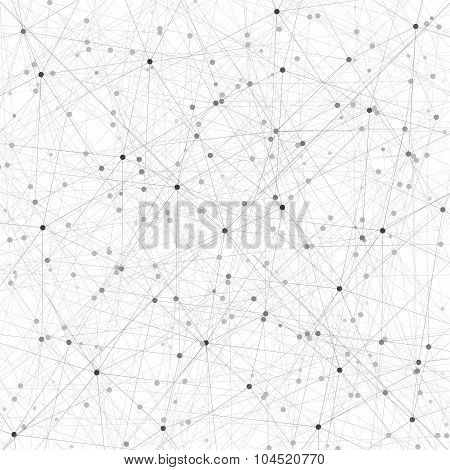 Grey graphic background molecule and communication. Connected lines with dots. Vector illustration