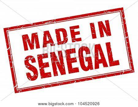 Senegal Red Square Grunge Made In Stamp