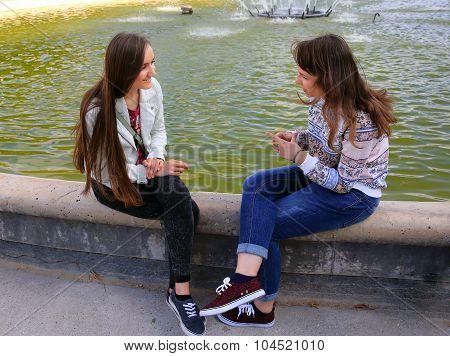 Students Girls Having Fun Outside