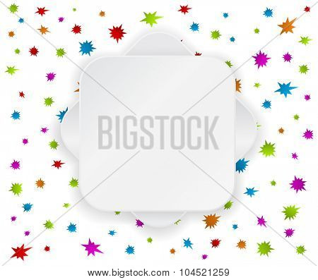 paper label banner template on festive colored background