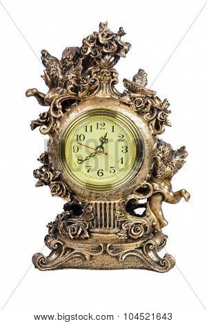 Antique Tabletop Clock Isolated On White