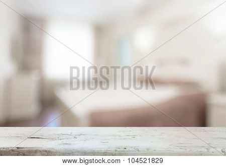 old wooden desk in the bedroom