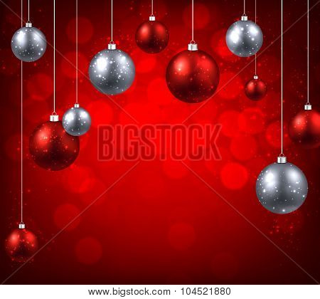 Christmas red background with color balls. Vector illustration.