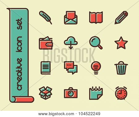 Fat Line Icon set for web and mobile. Modern minimalistic flat design elements of working with paper, reading and writing, time management and ideas