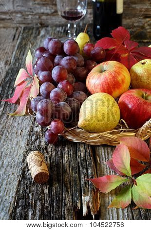 Autumn Fruit-piece With Fruits And Red Wine