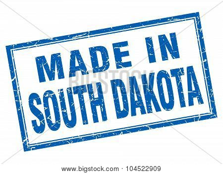 South Dakota Blue Square Grunge Made In Stamp